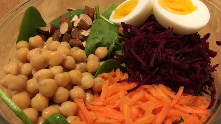 raw beet and spinach salad